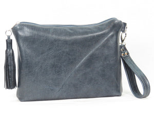 Slate Blue Leather Bee Flower Zipper Clutch reverse side