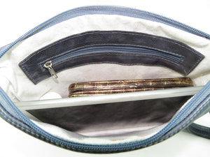 Slate Blue Leather Bee Flower Zipper Clutch zipper pocket