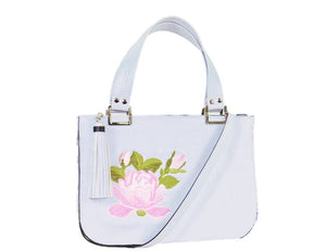 Small Gray Leather Zipper Tote Pink Rose Embroidery