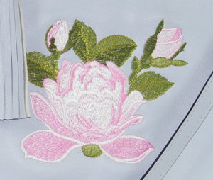 Small Gray Leather Zipper Tote Pink Rose Embroidery close-up