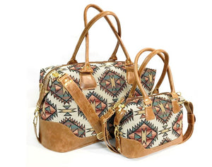 Southwest Tapestry and Leather Satchel and companion weekender
