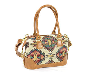 Southwest Tapestry and Leather Satchel front view