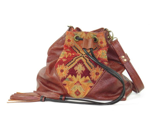 Southwest Tapestry and Leather Cross Body Bucket Bag