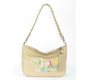 Spring Floral Leather Slouchy Hobo
