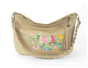 Spring Floral Leather Slouchy Hobo handle view