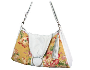 Spring Floral Yellow Hobo Handbag