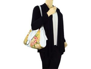 Spring Floral Yellow Hobo Handbag model view