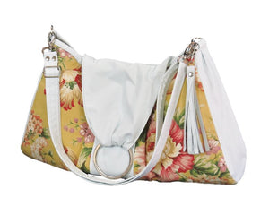 Spring Floral Yellow Hobo Handbag relaxed strap view
