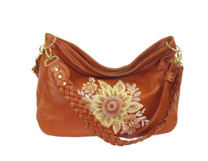 Summer's End Sunflower Slouchy Hobo Bag front view