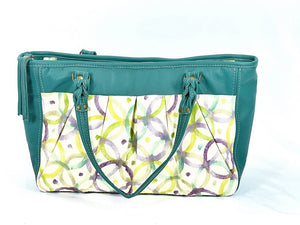 Teal Green Leather and Fabric Weekender Tote