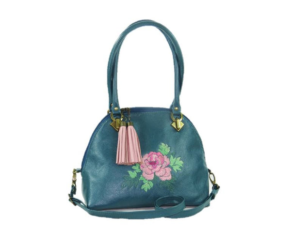 Teal Green Leather Dome Bag