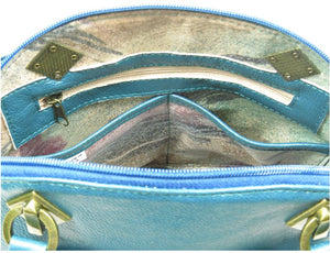 Teal Green Leather Dome Bag interior zipper pocket