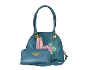 Teal Green Leather Dome Bag with companion Leather Wallet
