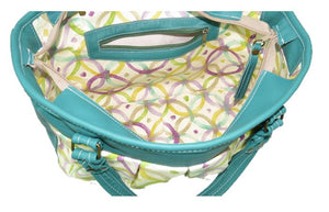 Teal Green Leather and Fabric Weekender Tote interior zipper