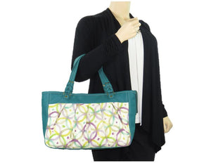 Teal Green Leather and Fabric Weekender Tote model view
