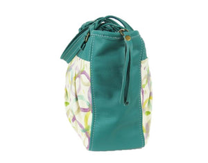 Teal Green Leather and Fabric Weekender Tote side view