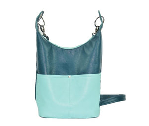 Teal Leather Cross Body Bag back view