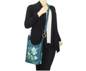 Teal Leather Cross Body Bag model view
