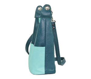 Teal Leather Cross Body Bag side view