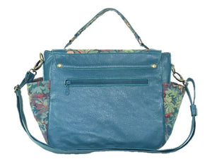Top Handle Teal Leather Flap Bag back view