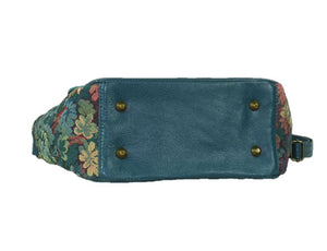 Top Handle Teal Leather Flap Bag bottom view