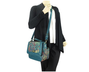 Top Handle Teal Leather Flap Bag cross body view