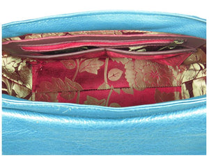 Top Handle Teal Leather Flap Bag interior zipper pocket