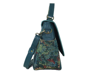 Top Handle Teal Leather Flap Bag side view