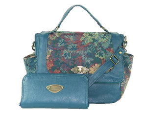 Top Handle Teal Leather Flap Bag with matching wallet
