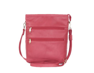 Triple Zip Red Leather Cross Body Bag