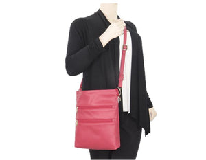 Triple Zip Red Leather Cross Body Bag model view