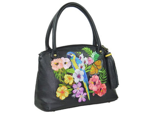 Tropical Paradise Black Leather Satchel