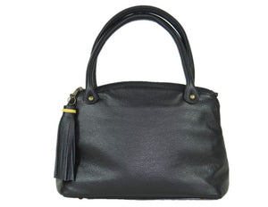 Tropical Paradise Black Leather Satchel back view