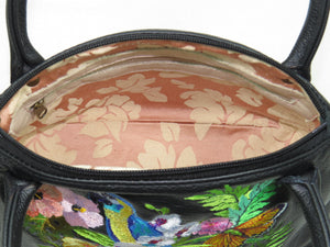Tropical Paradise Black Leather Satchel interior zipper pocket