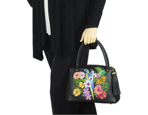 Tropical Paradise Black Leather Satchel model 1