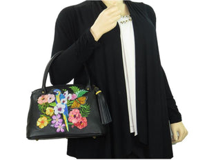 Tropical Paradise Black Leather Satchel model 2