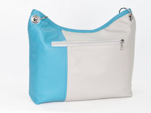Turquoise Gray Slouchy Hobo Leather Bag exterior zipper pocket