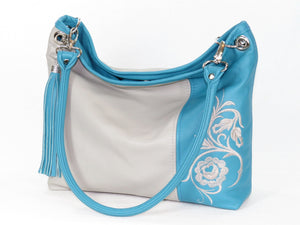Turquoise Gray Slouchy Hobo Leather Bag