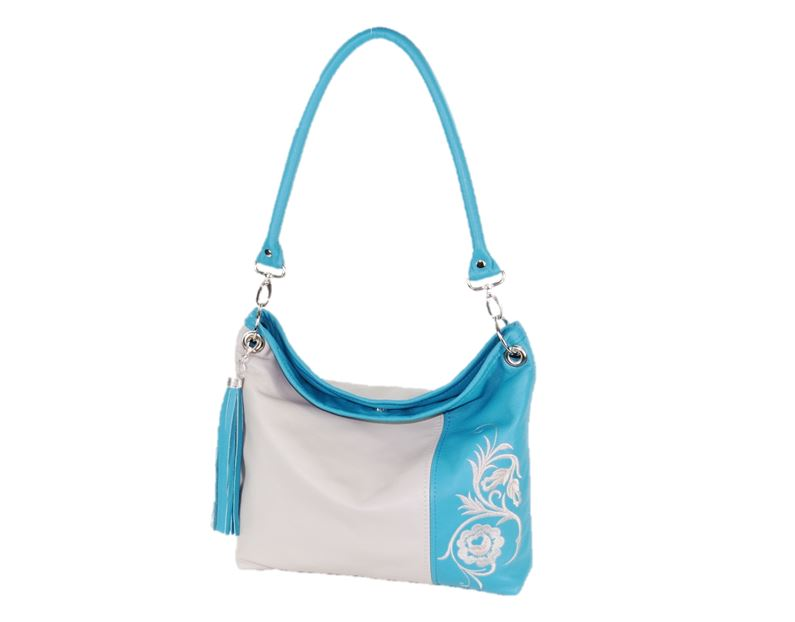 Turquoise Gray Slouchy Hobo Leather Bag 3