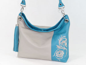 Turquoise Gray Slouchy Hobo Leather Bag close view