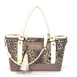 Two Tone Leather and Cheetah Chenille Tapestry Zipper Tote