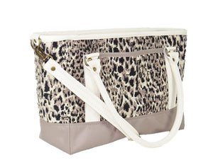 Two Tone Leather and Cheetah Chenille Tapestry Zipper Tote back view