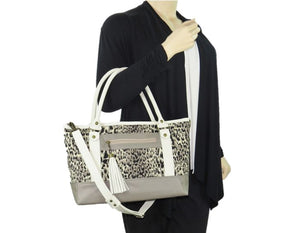 Two Tone Leather and Cheetah Chenille Tapestry Zipper Tote model view