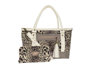 Two Tone Leather and Cheetah Zipper Tote with companion wallet