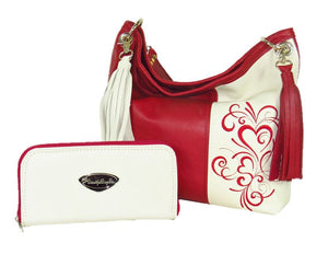 Valentine Hearts Red and White Leather Wallet with matching Slouchy Handbag