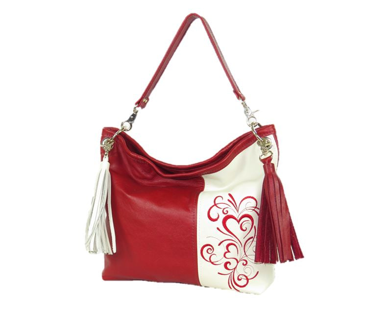 Valentine Hearts Red and White Slouchy Hobo Leather Bag