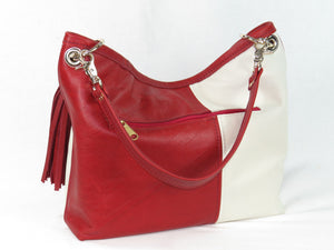Valentine Hearts Red and White Slouchy Hobo Leather Bag backside zipper pocket