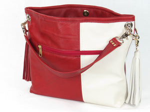 Valentine Hearts Red and White Slouchy Hobo Leather Bag open view