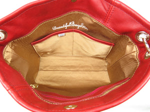 Valentine Hearts Red and White Slouchy Hobo Leather Bag interior dual pockets