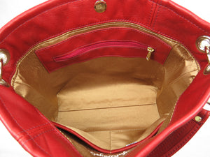 Valentine Hearts Red and White Slouchy Hobo Leather Bag interior zipper pocket